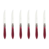 Murano 6 Steakmesser in Kiste Bordeaux Rot