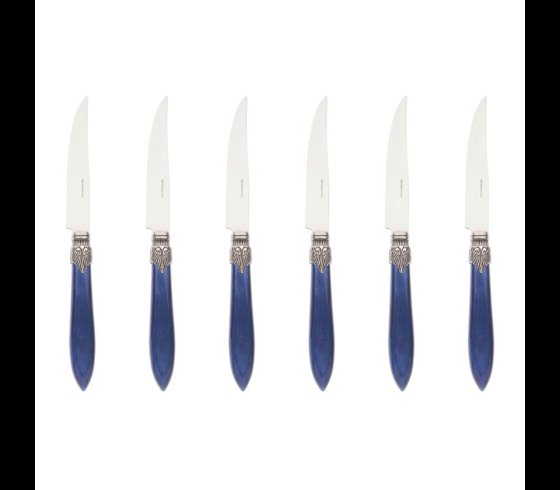 Murano 6 Steakmesser in Kiste Blau