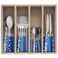 Couvert à la Carte 24-piece cutlery set mixed designs blue