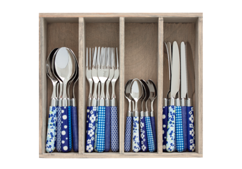 Couvert à la Carte 24-piece cutlery set mixed designs blue
