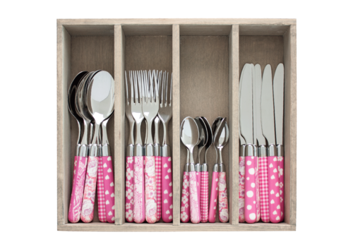 Couvert à la Carte 24-delige bestekset gemixte decors roze