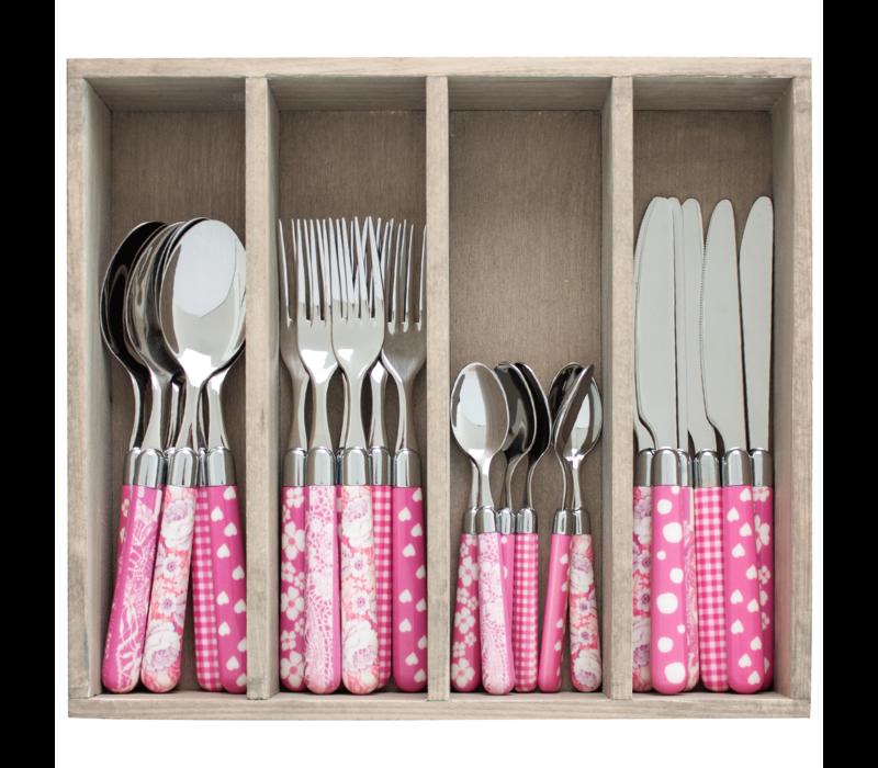 Couvert à la Carte 24-teiliges Besteck-Set gemischte Dekore rosa