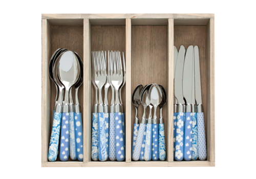 Couvert à la Carte 24-piece cutlery set mixed designs sky blue