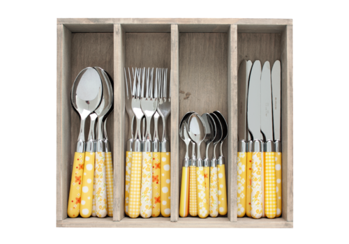 Couvert à la Carte 24-piece cutlery set mixed designs yellow