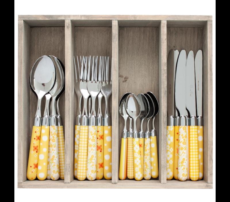 Couvert à la Carte 24-piece cutlery set mixed designs yellow