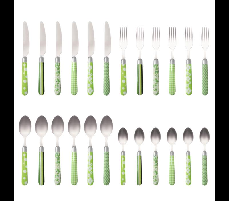 Couvert à la Carte 24-piece cutlery set mixed designs green