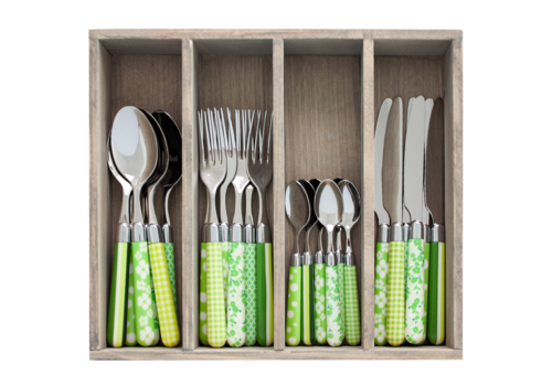 Couvert à la Carte 24-piece cutlery set mixed designs green