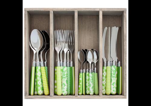 Couvert à la Carte 24-teiliges Besteck-Set gemischte Dekore grün