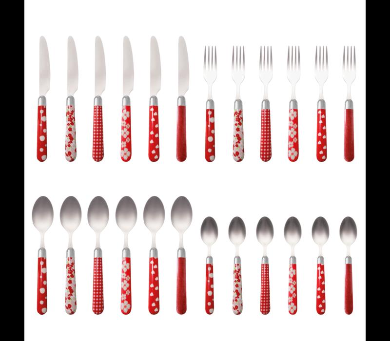 Couvert à la Carte 24-piece cutlery set mixed designs red