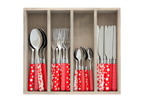 Couvert à la Carte 24-piece cutlery set mixed designs red