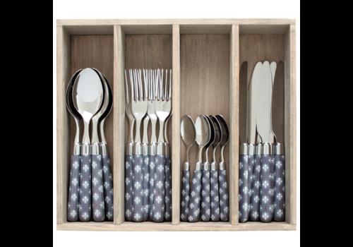 Couvert à la Carte 24-piece cutlery set fleur-de-lis grey