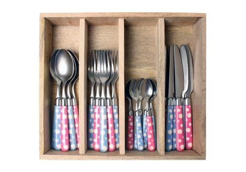 Couvert à la Carte 24-piece cutlery set dots mix (blue & pink)