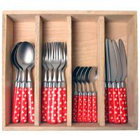 Couvert à la Carte 24-piece cutlery set hearts red