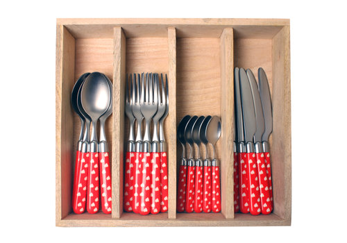 Couvert à la Carte 24-piece cutlery set hearts red