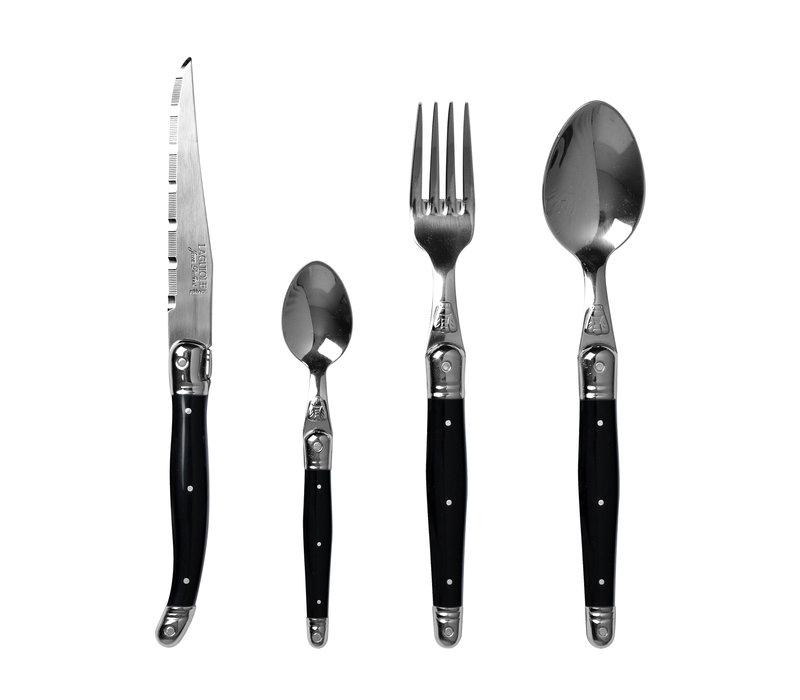 Laguiole cutlery set 24-piece black