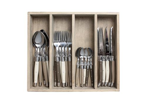 Laguiole Laguiole cutlery set 24-piece linen mix