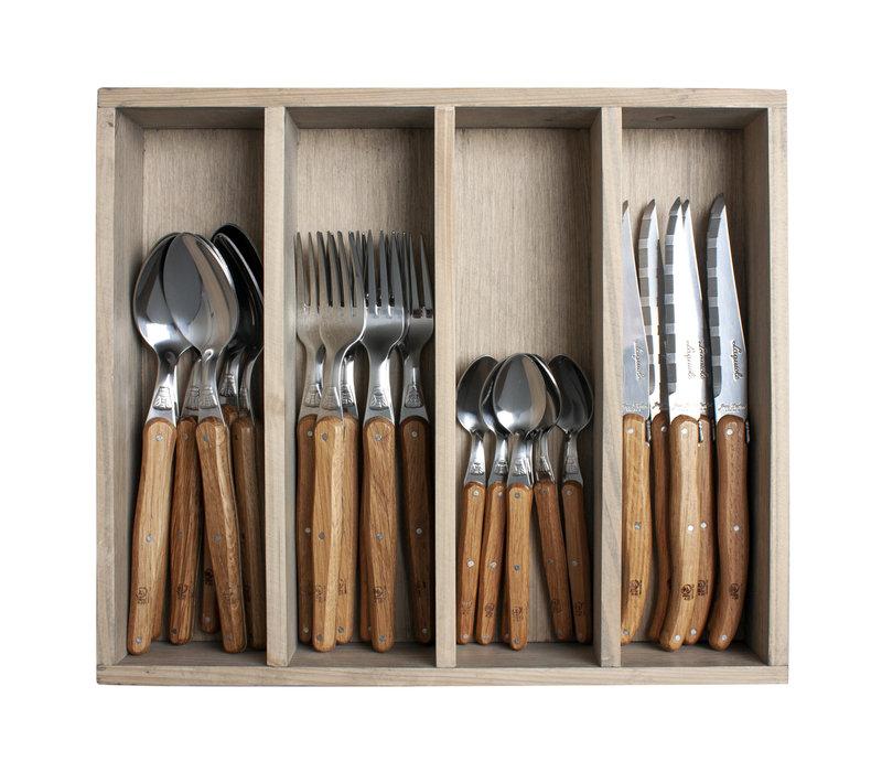 Laguiole cutlery set 24-piece oak wood