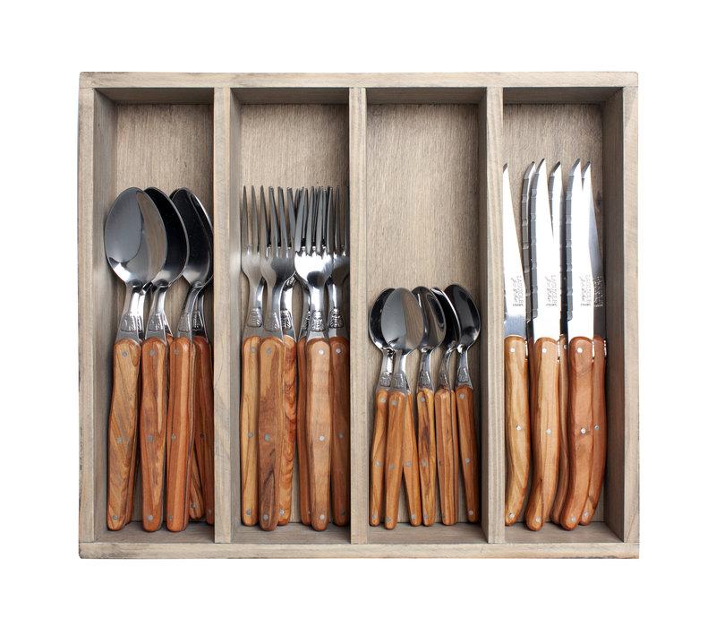 Laguiole cutlery set 24-piece olive wood