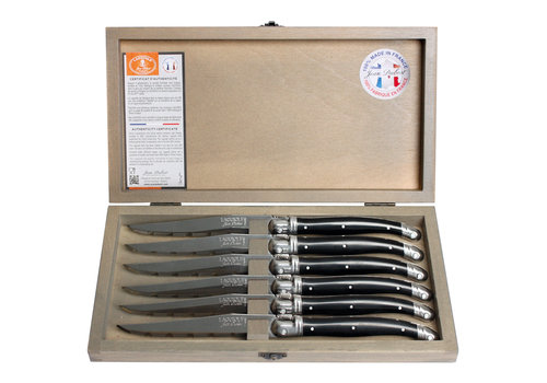 Laguiole Laguiole 6 Steak knives 1.2 mm black in box