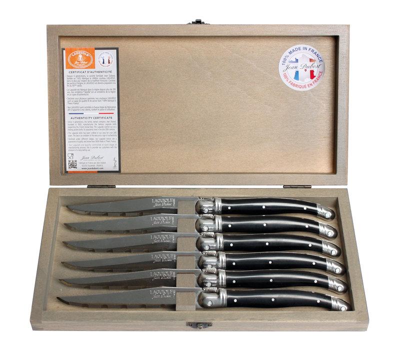 Laguiole 6 Steakmesser 1,2 mm schwarz in Box