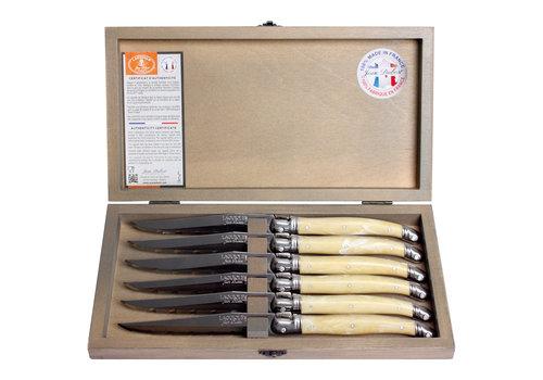 Laguiole Laguiole 6 Steakmessen 1,2 mm ivoor in kistje