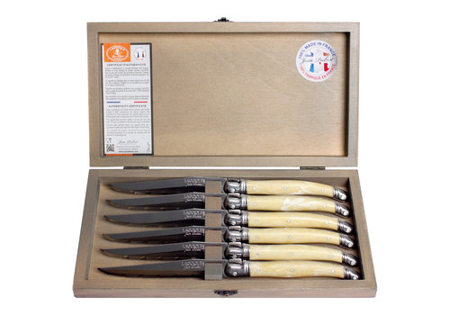 Laguiole Laguiole 6 Steakmesser 1,2 mm Elfenbeinfarbe in Box