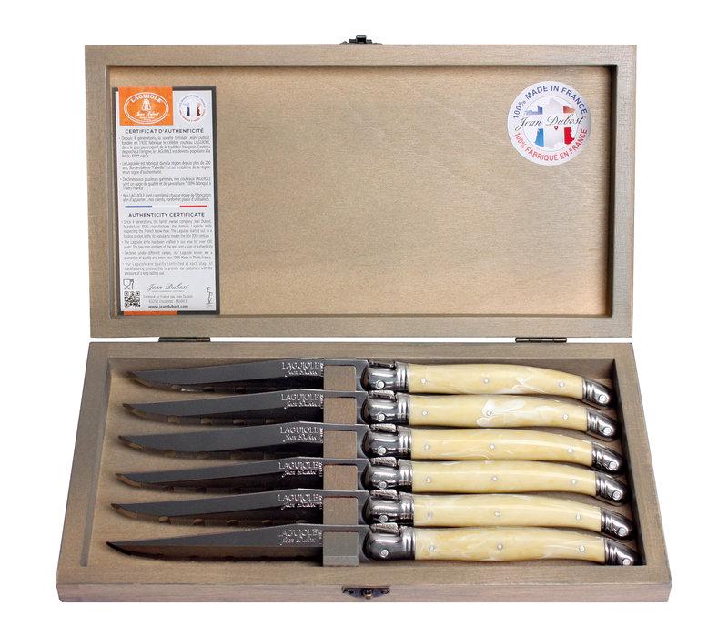 Laguiole 6 Steakmessen 1,2 mm ivoor in kistje