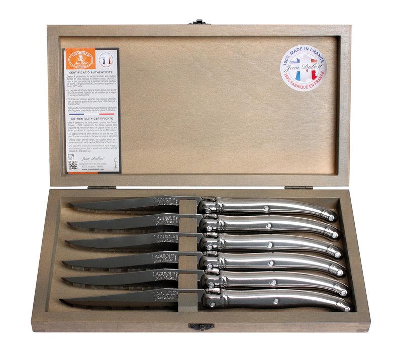 Laguiole 6 Steakmessen 1,2 mm staal in kistje