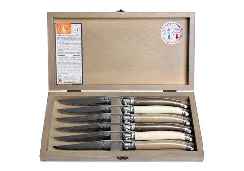 Laguiole Laguiole 6 Steakmesser 1,2 mm linen mix in Box