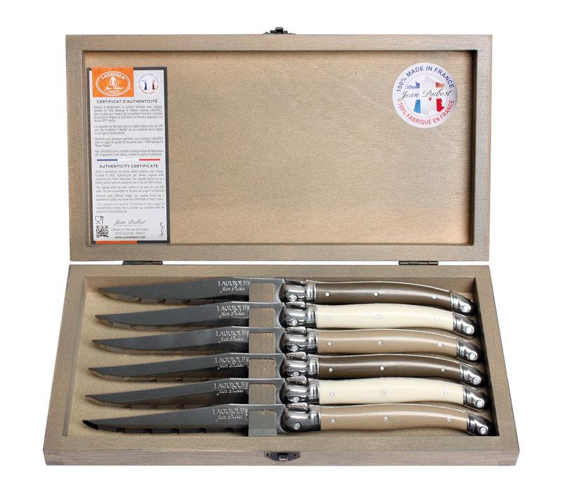 Laguiole 6 Steakmesser 1,2 mm Linen mix in Box