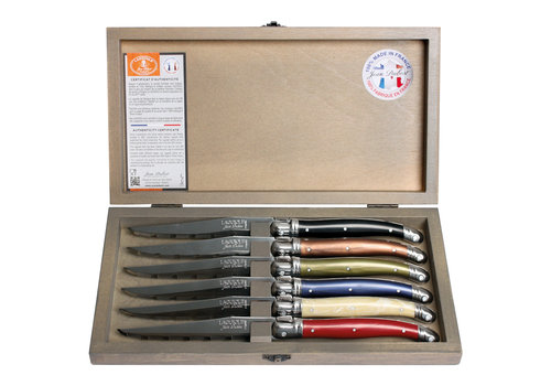 Laguiole Laguiole 6 Steak knives 1.2 mm autumn mix in box