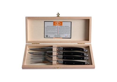 Laguiole Laguiole 2 steakmessen & 2 vorken 2,5 mm in kistje zwart