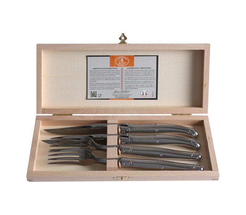 Laguiole 2 steakmessen & 2 vorken 2,5 mm in kistje staal