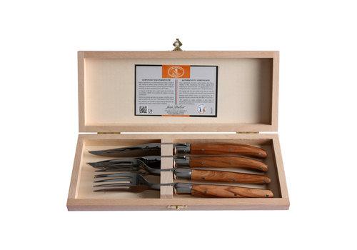 Laguiole Laguiole 2 steakmessen & 2 vorken 2,5 mm in kistje olijfhout