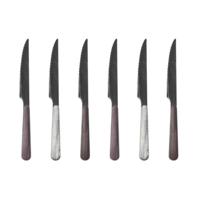 Wood Style 6 Steak Knives in Box Glacier Mix