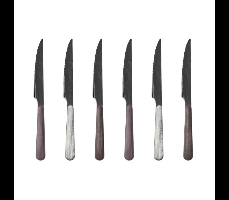Wood Style 6 Steakmesser in Kiste Glacier Mix