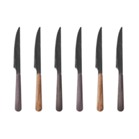 Wood Style 6 Steak Knives in Box Sequoia Mix