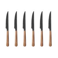 Wood Style 6 Steak Knives in Box Cedar