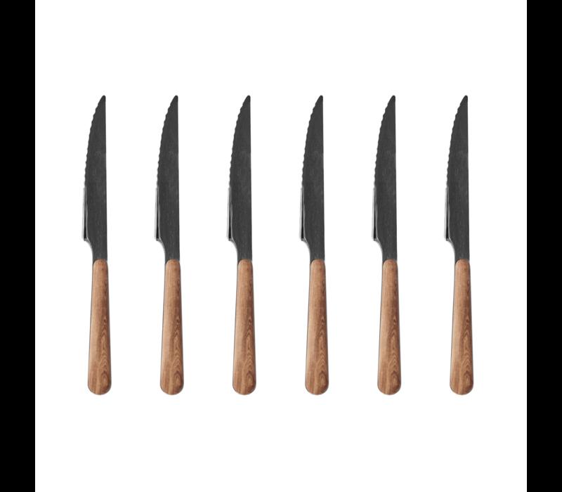 Wood Style 6 Steakmesser in Kiste Cedar