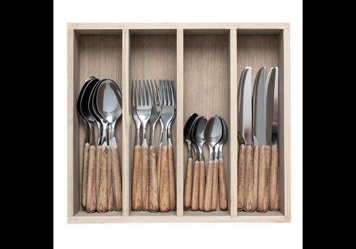 """Kom Amsterdam Wood Style 24-pieces dinner cutlery """"Cedar"""" in box"""