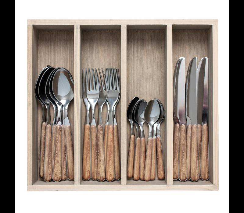 "Wood Style 24-piece Dinner Cutlery ""Cedar"" in Box"