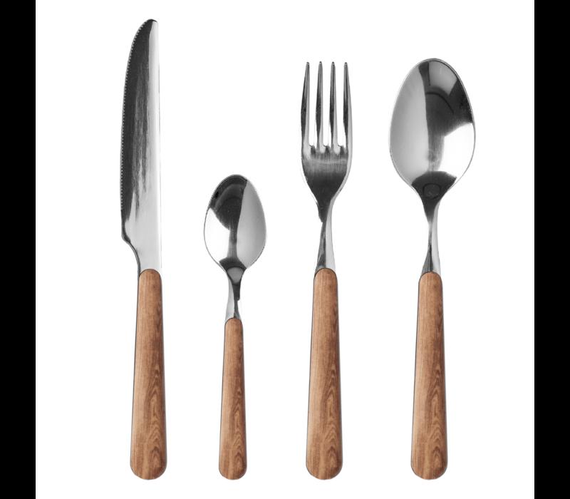 """Wood Style 24-delig Dinerbestek """"Ceder"""" in Kist"""