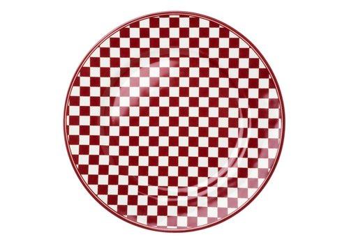 Dépôt d'Argonne Dépôt d'Argonne Dinner Plate 27cm Damier, Red