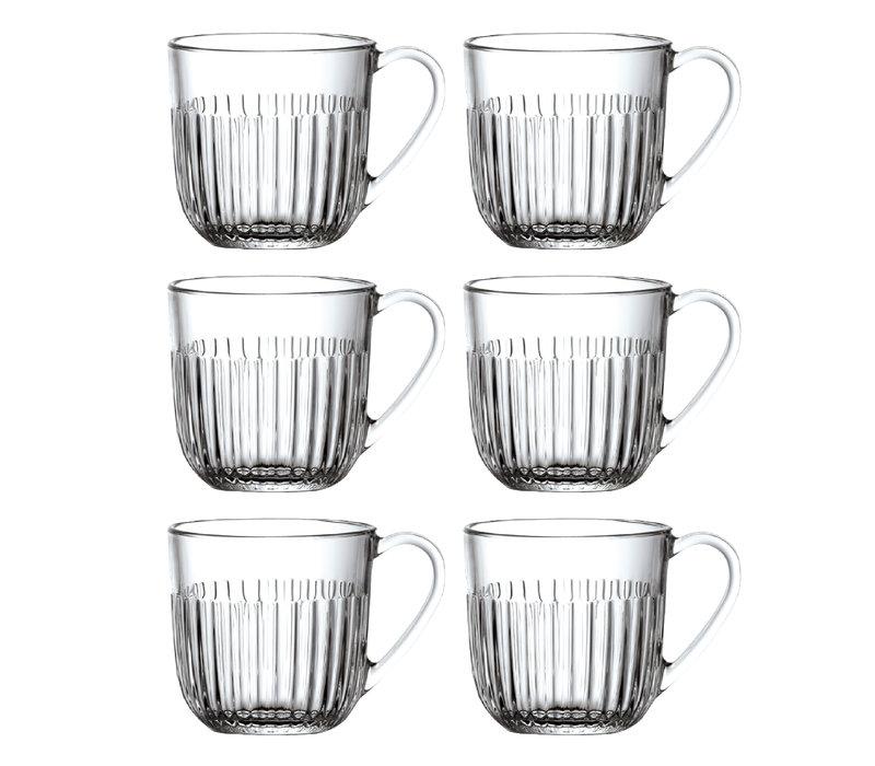 Rochère set 6 cappuccino/thee glazen 27 cl Breton