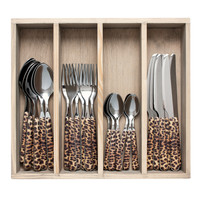 """Wood Style 24-piece Dinner Cutlery """"Panther"""" in box"""
