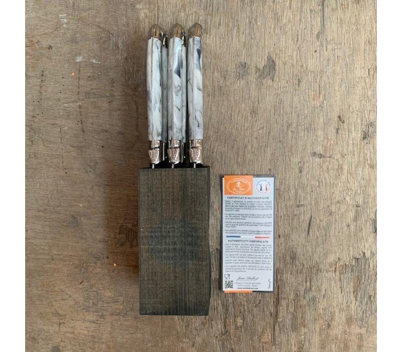 BF2040 Laguiole 6 Steakmesser 1,2 mm Marmor im Block
