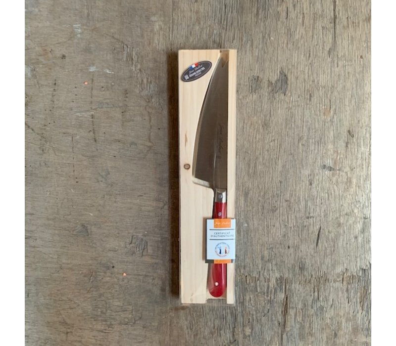 BF2051 Laguiole cheese knife blade 12 cm, thickness 1.5 mm with red wooden handle in display
