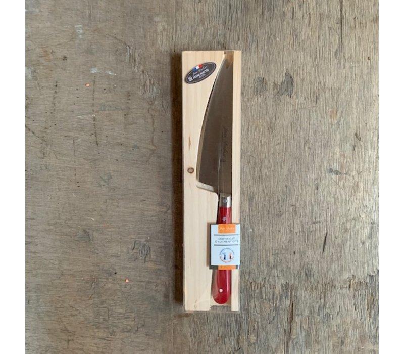 BF2051 Laguiole Käsemesserklinge 12 cm, Dicke 1,5 mm mit rotem Holzgriff im Display