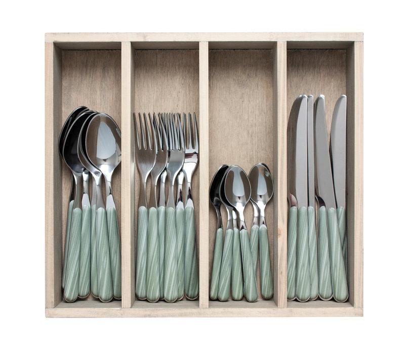 """Wood Style 24-delig Dinerbestek """"Bamboe"""" in Kist"""