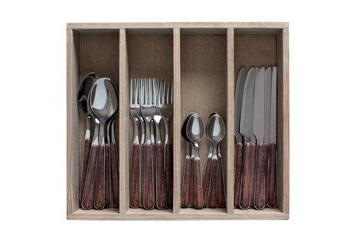 "Kom Amsterdam Wood Style 24-piece Dinner Cutlery ""Acacia"" in Box"